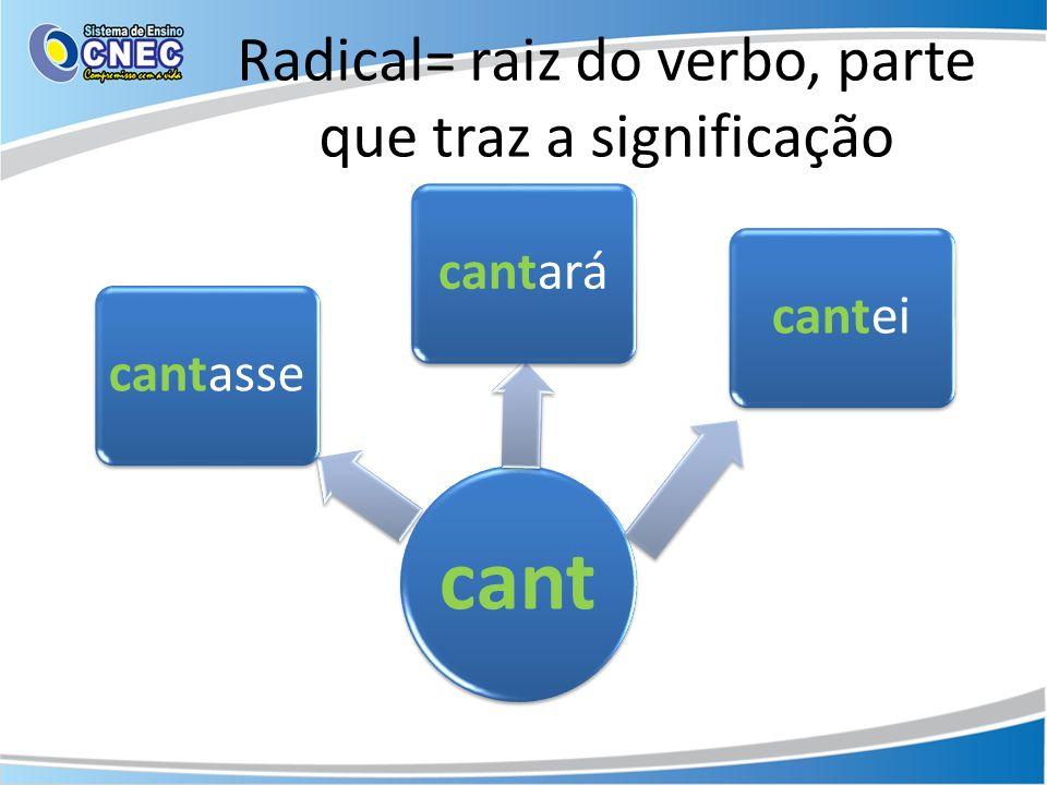 Radical= raiz do verbo, parte que traz a significação