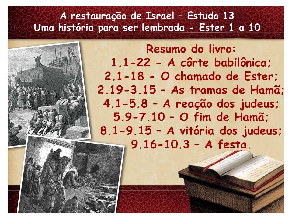 8.1-9.15 – A vitória dos judeus; 9.16-10.3 – A festa.