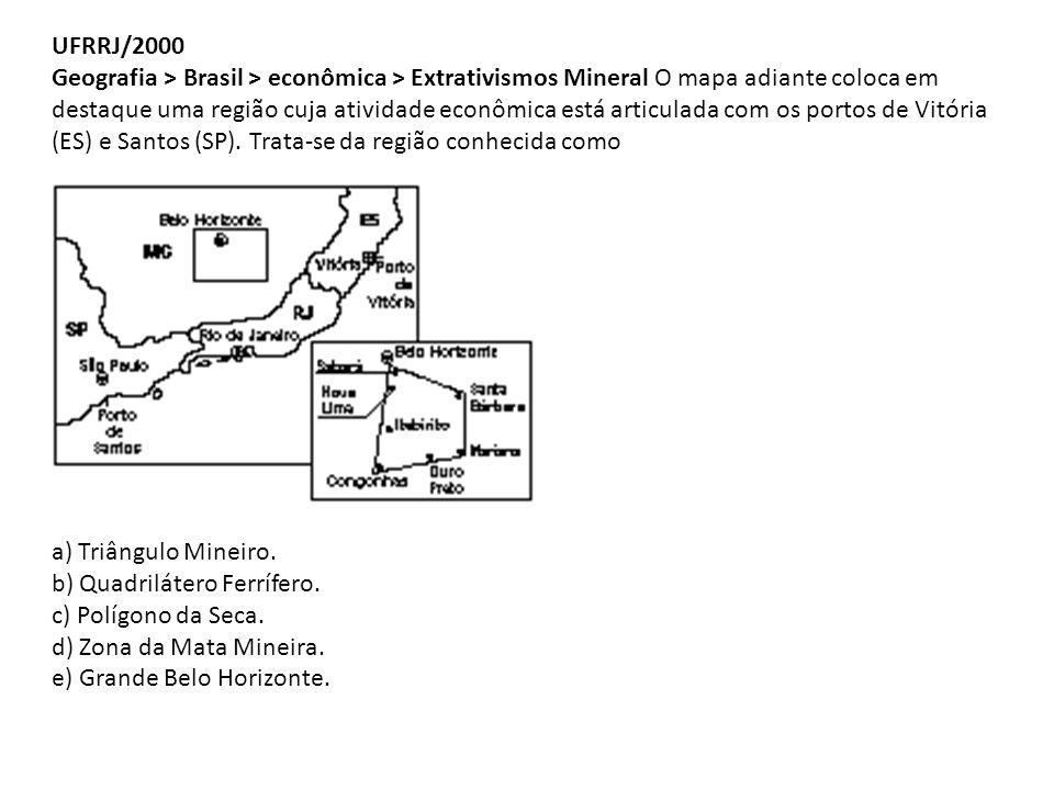 UFRRJ/2000 Geografia > Brasil > econômica > Extrativismos Mineral O mapa adiante coloca em destaque uma região cuja atividade econômica está articulada com os portos de Vitória (ES) e Santos (SP). Trata-se da região conhecida como