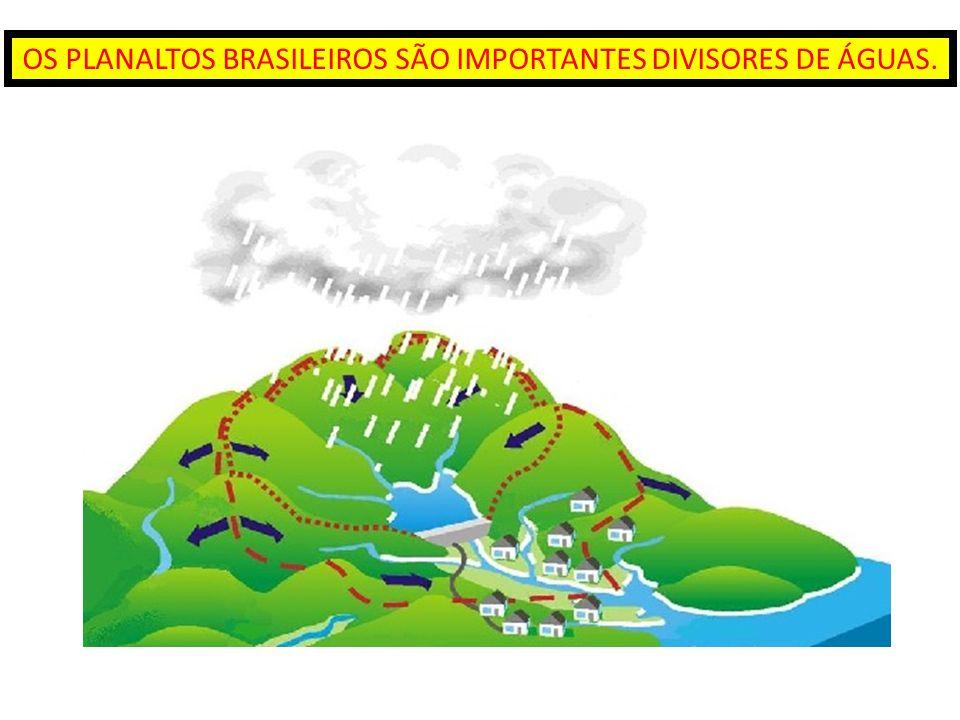 OS PLANALTOS BRASILEIROS SÃO IMPORTANTES DIVISORES DE ÁGUAS.