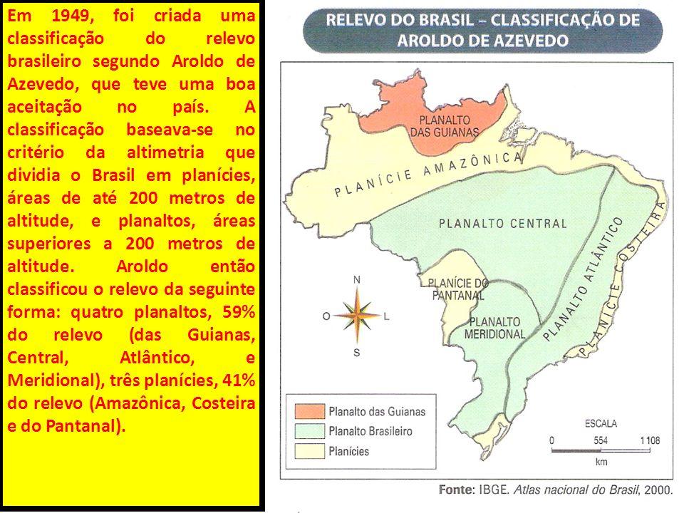Em 1949, foi criada uma classificação do relevo brasileiro segundo Aroldo de Azevedo, que teve uma boa aceitação no país.