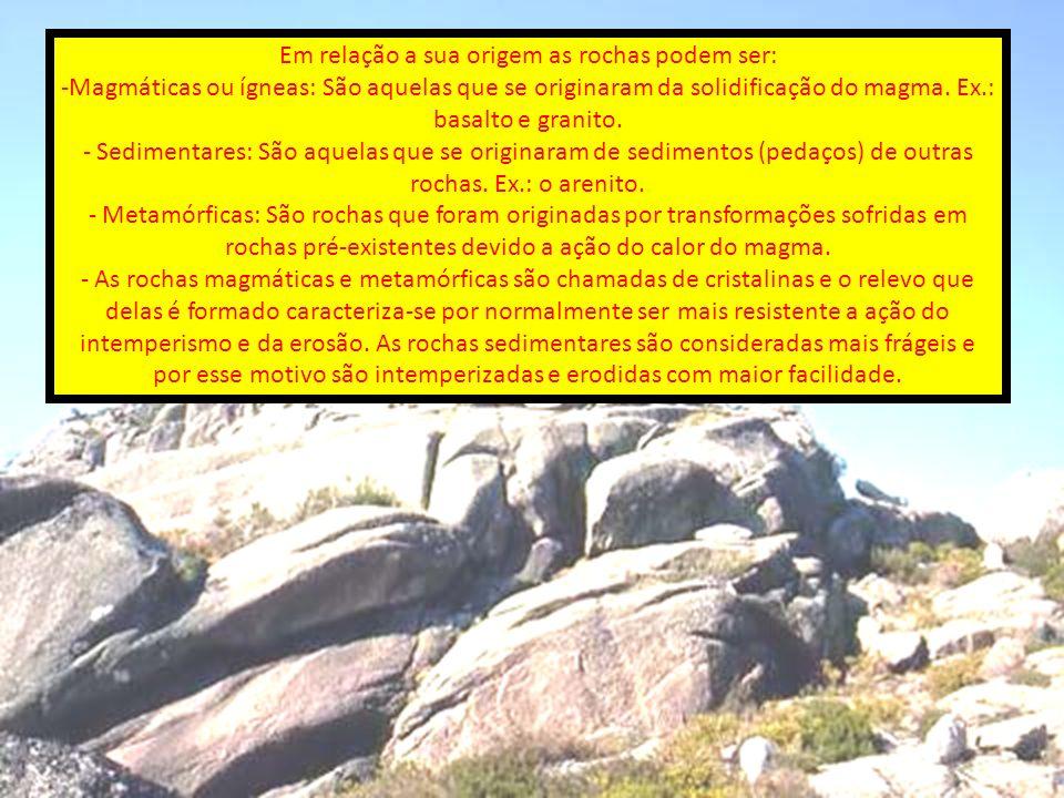 Em relação a sua origem as rochas podem ser:
