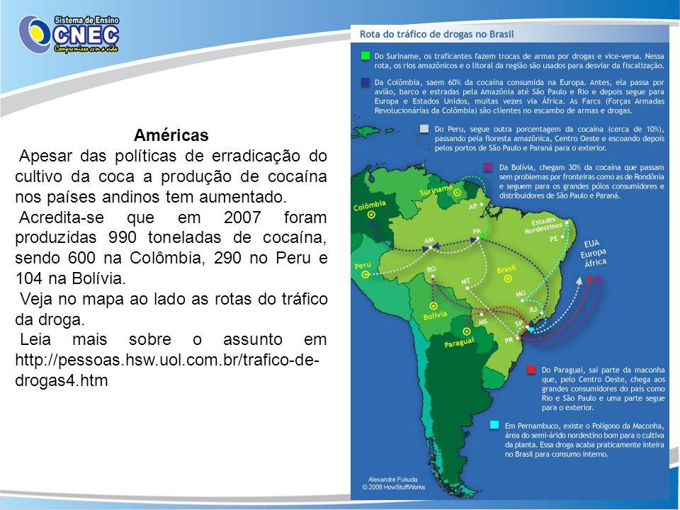 AméricasApesar das políticas de erradicação do cultivo da coca a produção de cocaína nos países andinos tem aumentado.