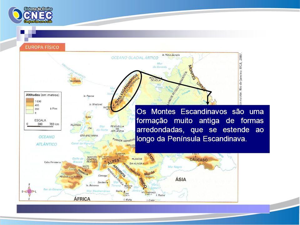 Os Montes Escandinavos são uma formação muito antiga de formas arredondadas, que se estende ao longo da Península Escandinava.