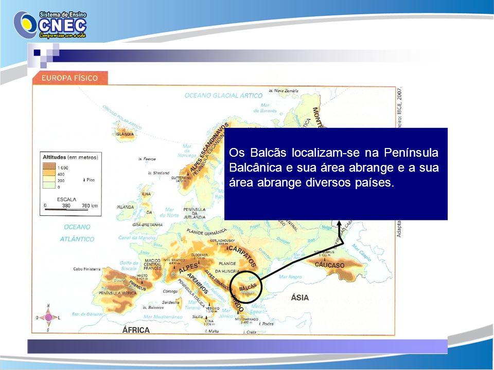 Os Balcãs localizam-se na Península Balcânica e sua área abrange e a sua área abrange diversos países.