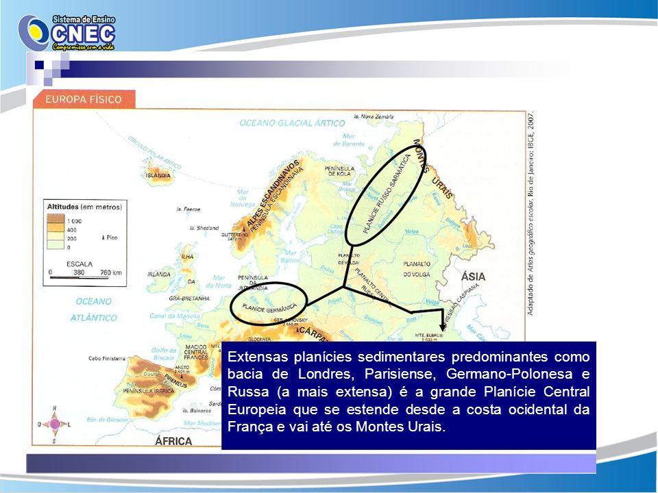 Extensas planícies sedimentares predominantes como bacia de Londres, Parisiense, Germano-Polonesa e Russa (a mais extensa) é a grande Planície Central Europeia que se estende desde a costa ocidental da França e vai até os Montes Urais.