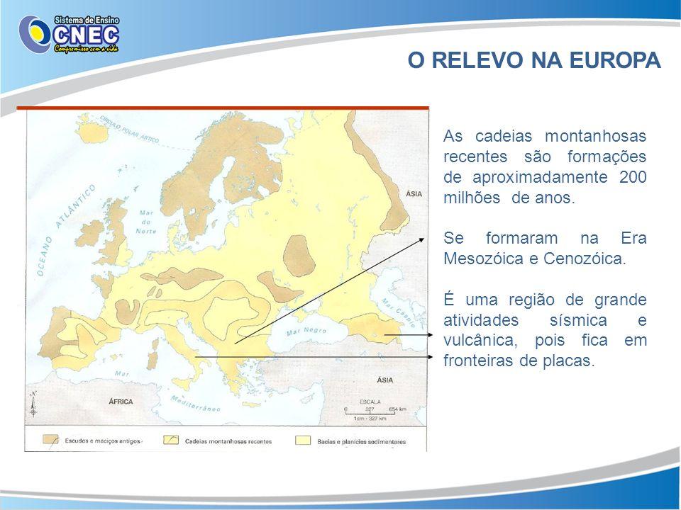 O RELEVO NA EUROPA As cadeias montanhosas recentes são formações de aproximadamente 200 milhões de anos.