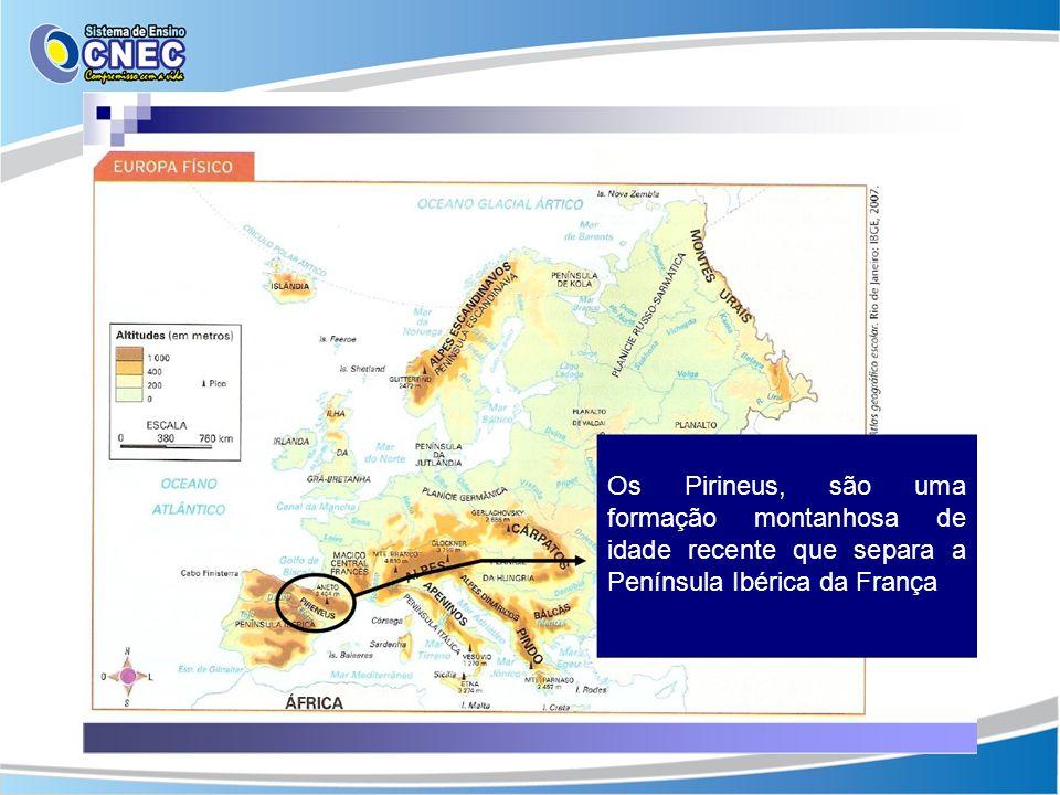 Os Pirineus, são uma formação montanhosa de idade recente que separa a Península Ibérica da França