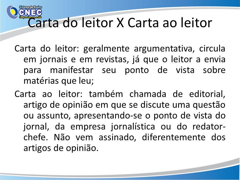 Carta do leitor X Carta ao leitor