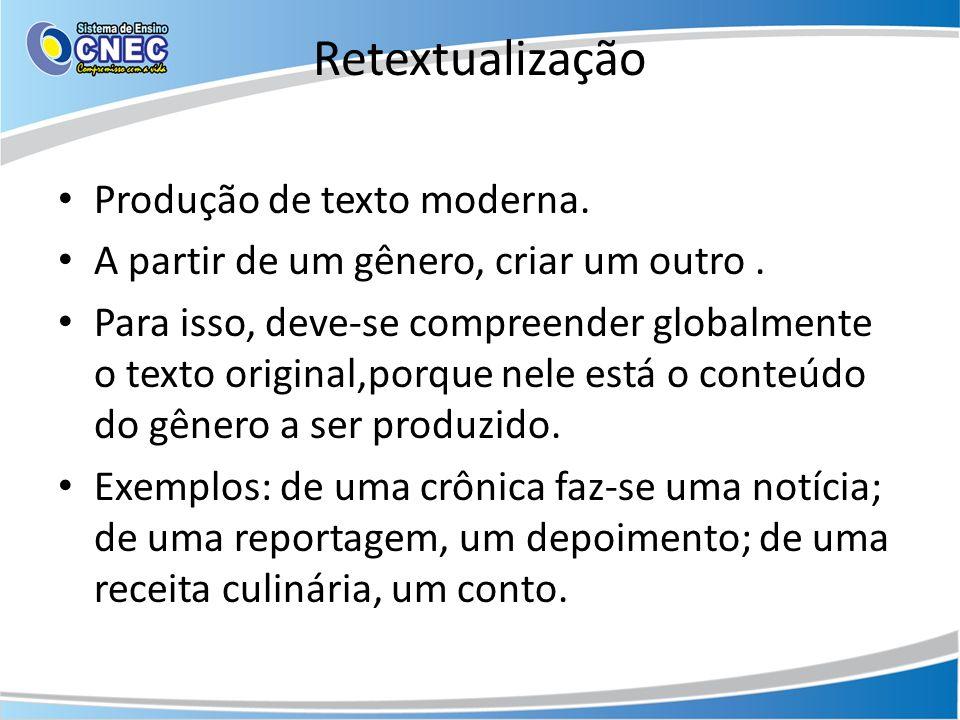 Retextualização Produção de texto moderna.