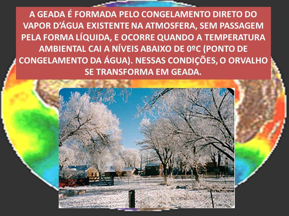 A GEADA É FORMADA PELO CONGELAMENTO DIRETO DO VAPOR D'ÁGUA EXISTENTE NA ATMOSFERA, SEM PASSAGEM PELA FORMA LÍQUIDA, E OCORRE QUANDO A TEMPERATURA AMBIENTAL CAI A NÍVEIS ABAIXO DE 0ºC (PONTO DE CONGELAMENTO DA ÁGUA).