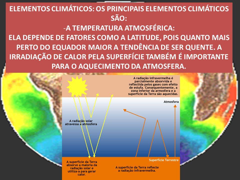 ELEMENTOS CLIMÁTICOS: OS PRINCIPAIS ELEMENTOS CLIMÁTICOS SÃO: