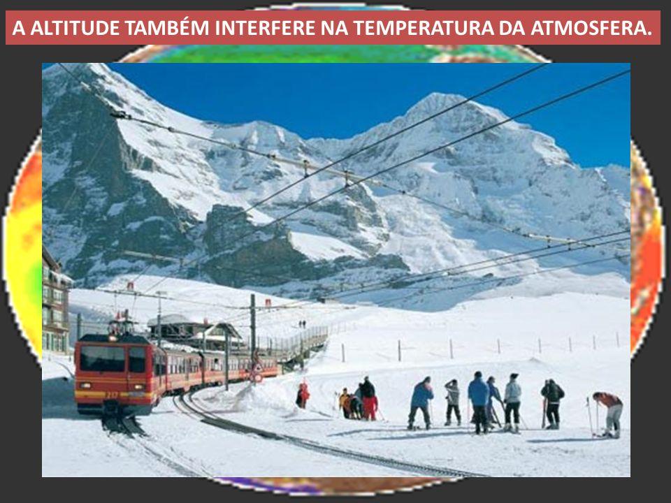 A ALTITUDE TAMBÉM INTERFERE NA TEMPERATURA DA ATMOSFERA.