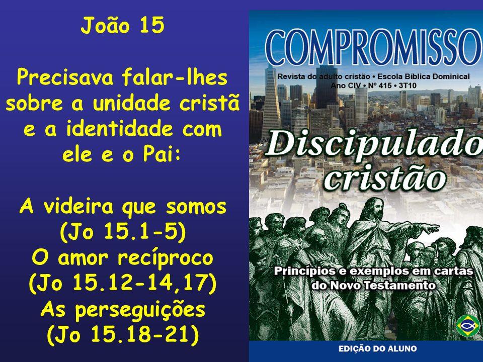 João 15Precisava falar-lhes. sobre a unidade cristã. e a identidade com. ele e o Pai: A videira que somos.