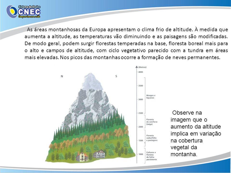 As áreas montanhosas da Europa apresentam o clima frio de altitude