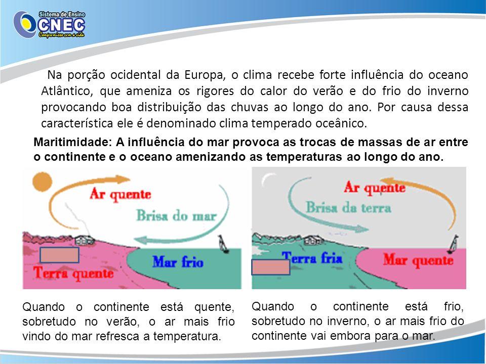 Na porção ocidental da Europa, o clima recebe forte influência do oceano Atlântico, que ameniza os rigores do calor do verão e do frio do inverno provocando boa distribuição das chuvas ao longo do ano. Por causa dessa característica ele é denominado clima temperado oceânico.