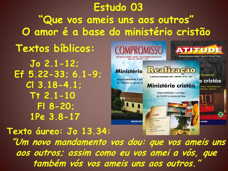 Que vos ameis uns aos outros O amor é a base do ministério cristão