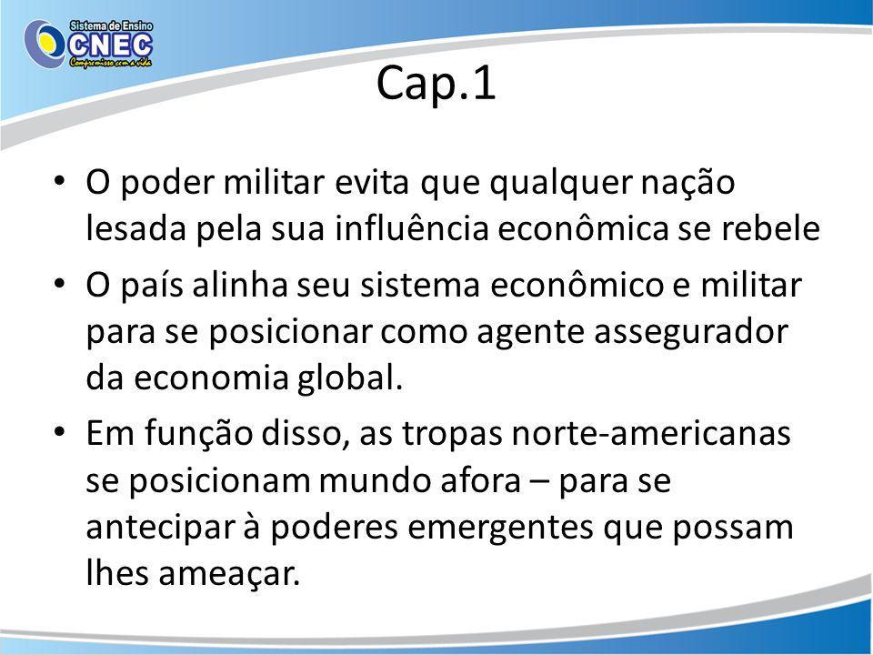 Cap.1 O poder militar evita que qualquer nação lesada pela sua influência econômica se rebele.