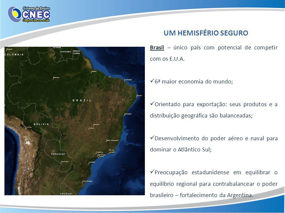 UM HEMISFÉRIO SEGURO Brasil – único país com potencial de competir com os E.U.A. 6ª maior economia do mundo;