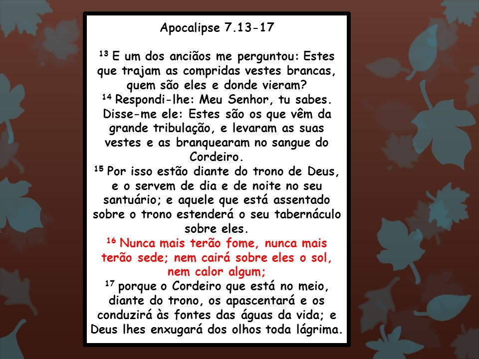 Apocalipse 7.13-17 13 E um dos anciãos me perguntou: Estes que trajam as compridas vestes brancas, quem são eles e donde vieram