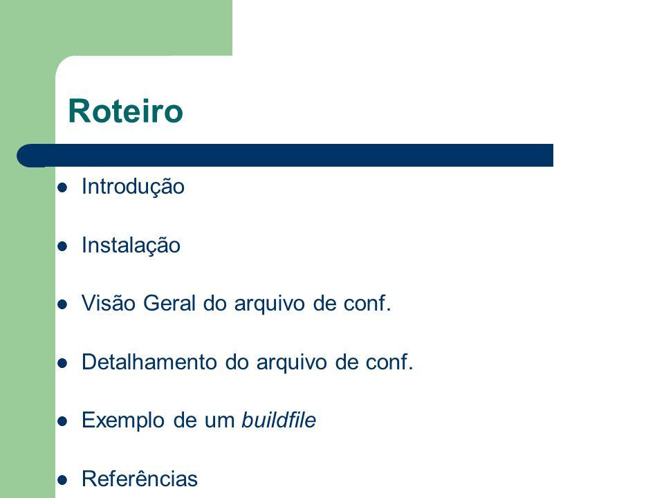 Roteiro Introdução Instalação Visão Geral do arquivo de conf.