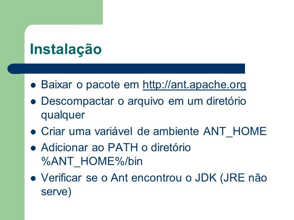 Instalação Baixar o pacote em http://ant.apache.org