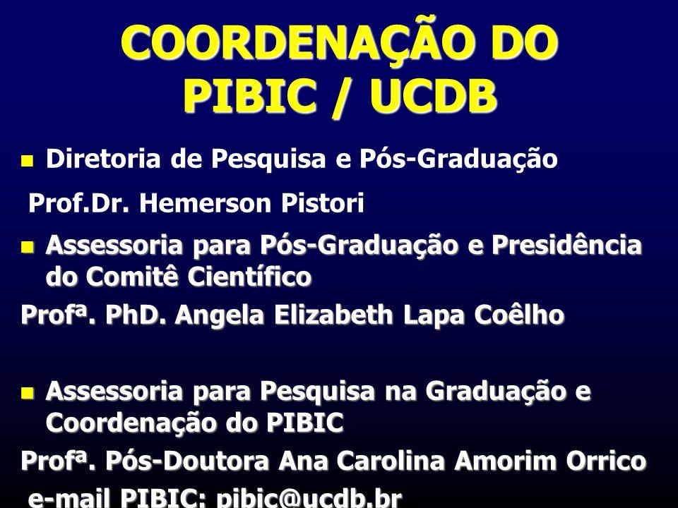 COORDENAÇÃO DO PIBIC / UCDB