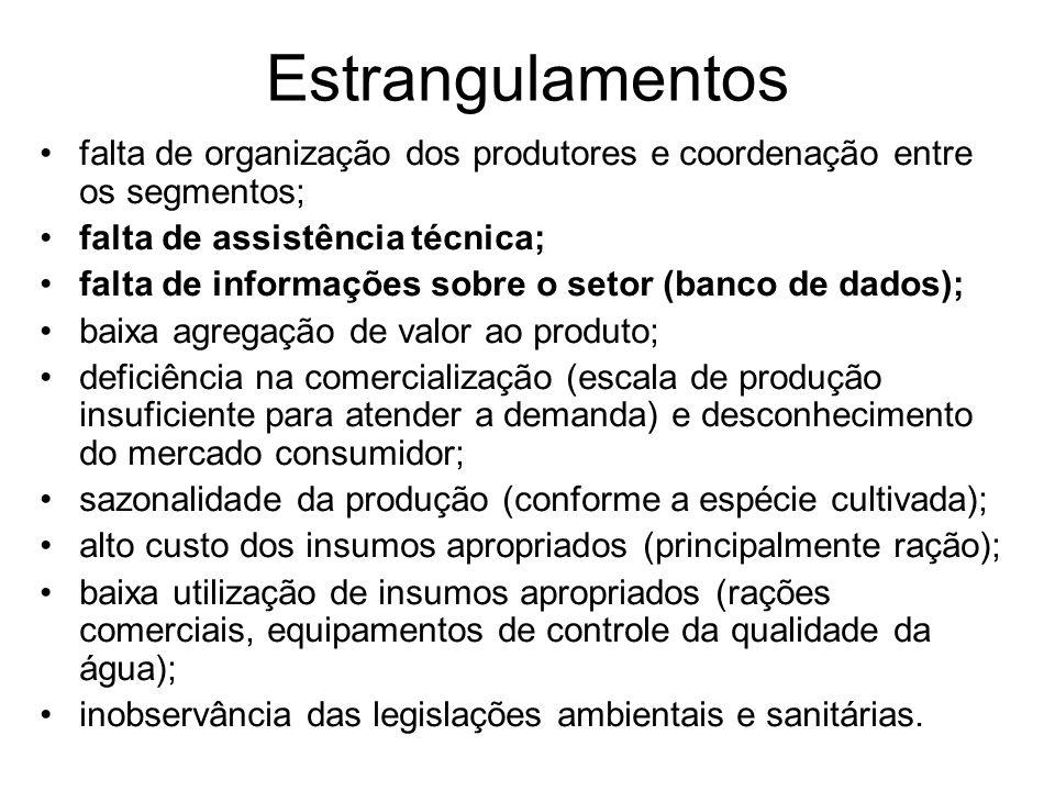 Estrangulamentos falta de organização dos produtores e coordenação entre os segmentos; falta de assistência técnica;