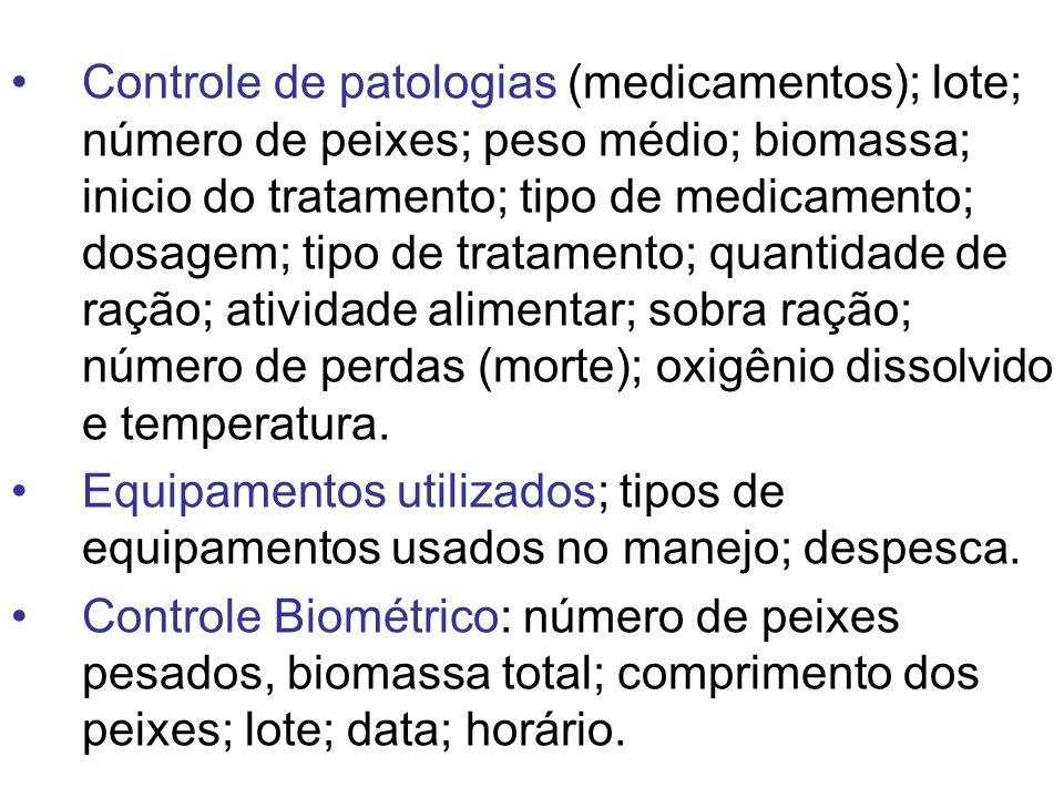 Controle de patologias (medicamentos); lote; número de peixes; peso médio; biomassa; inicio do tratamento; tipo de medicamento; dosagem; tipo de tratamento; quantidade de ração; atividade alimentar; sobra ração; número de perdas (morte); oxigênio dissolvido e temperatura.