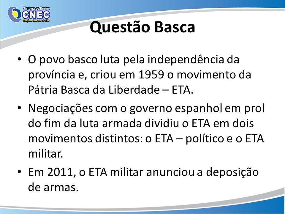 Questão Basca O povo basco luta pela independência da província e, criou em 1959 o movimento da Pátria Basca da Liberdade – ETA.