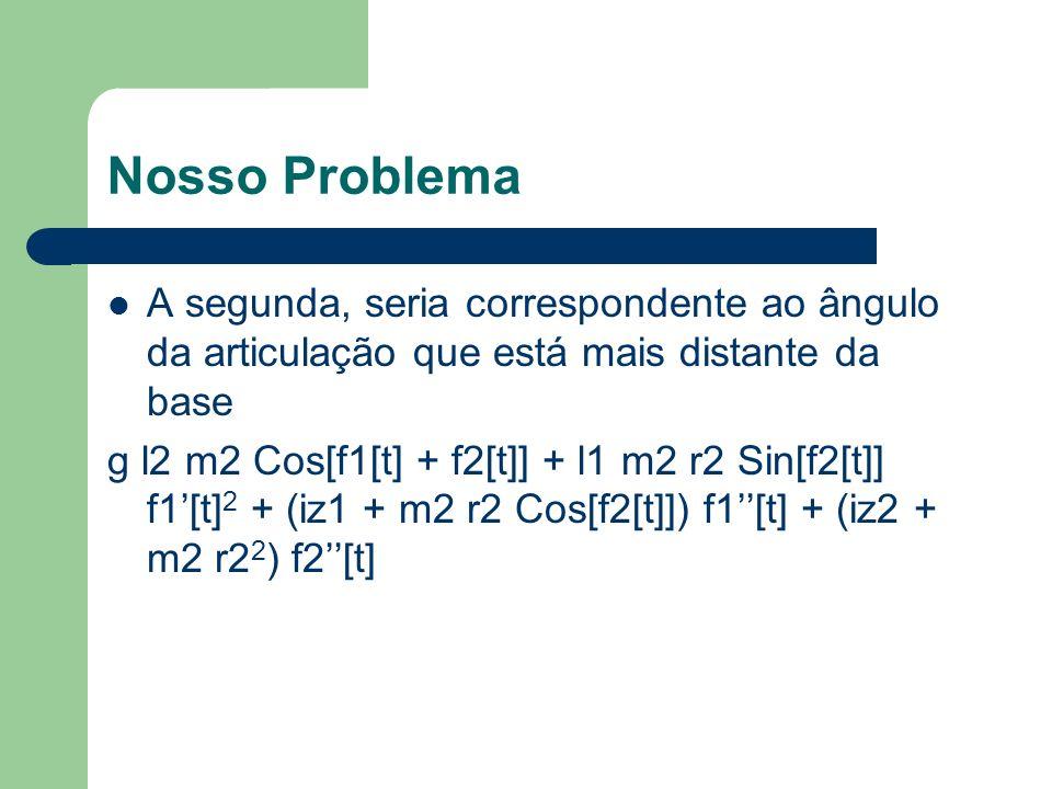Nosso Problema A segunda, seria correspondente ao ângulo da articulação que está mais distante da base.