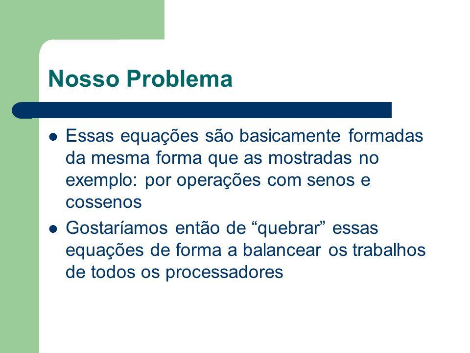 Nosso Problema Essas equações são basicamente formadas da mesma forma que as mostradas no exemplo: por operações com senos e cossenos.