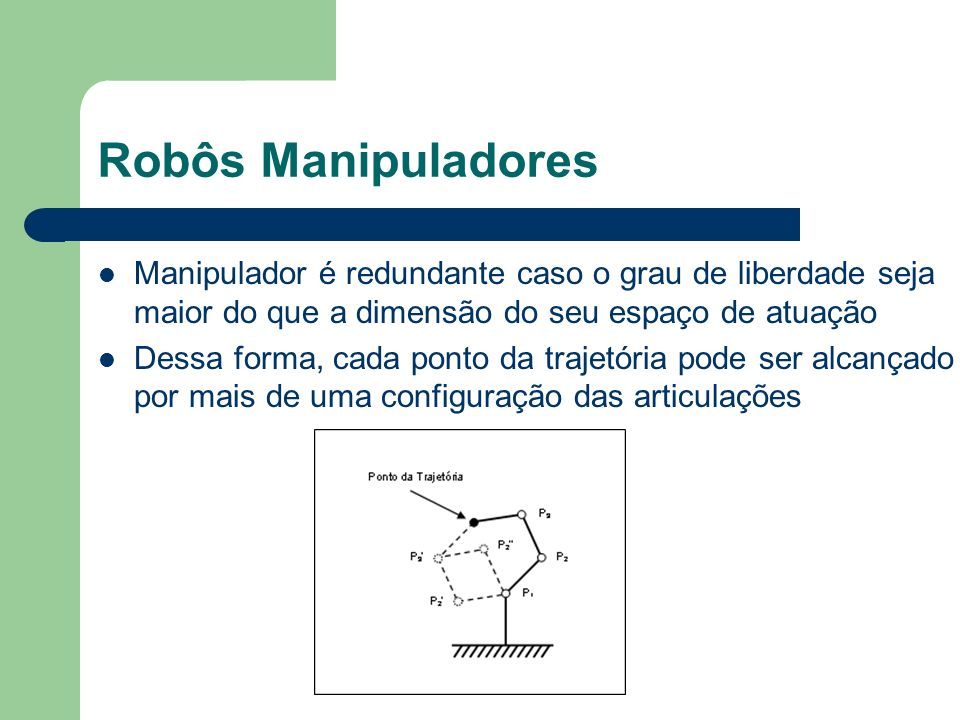 Robôs Manipuladores Manipulador é redundante caso o grau de liberdade seja maior do que a dimensão do seu espaço de atuação.