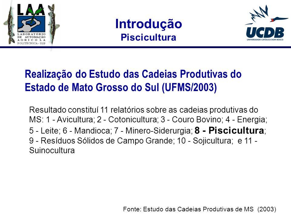 Introdução Piscicultura. Realização do Estudo das Cadeias Produtivas do Estado de Mato Grosso do Sul (UFMS/2003)
