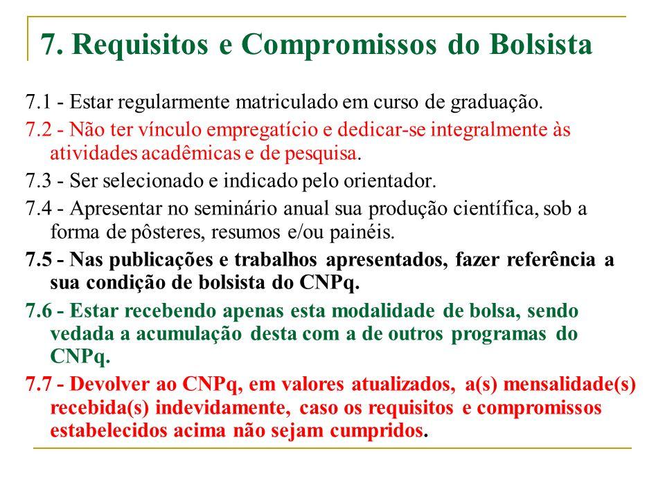 7. Requisitos e Compromissos do Bolsista