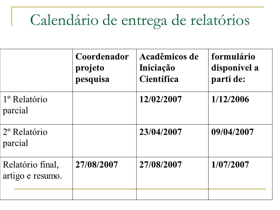 Calendário de entrega de relatórios