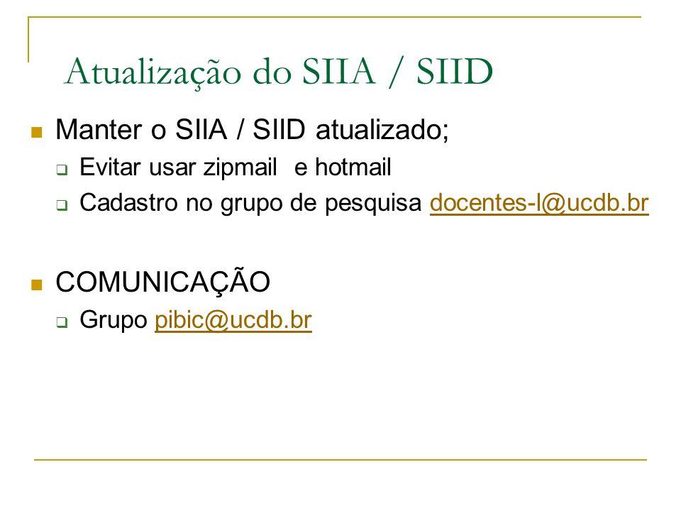 Atualização do SIIA / SIID