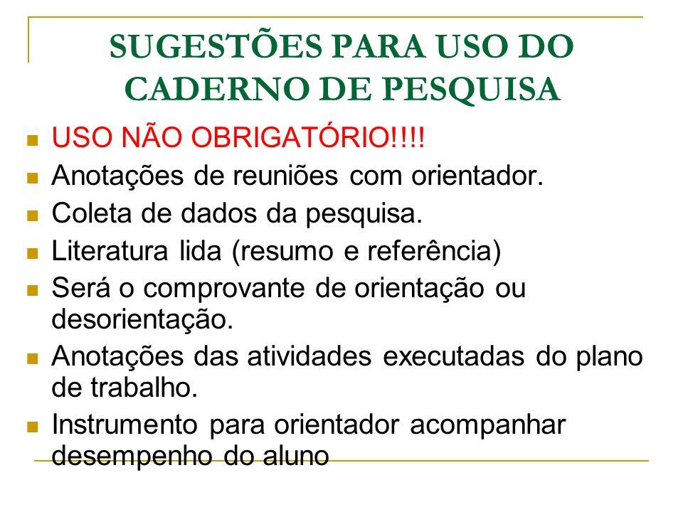 SUGESTÕES PARA USO DO CADERNO DE PESQUISA