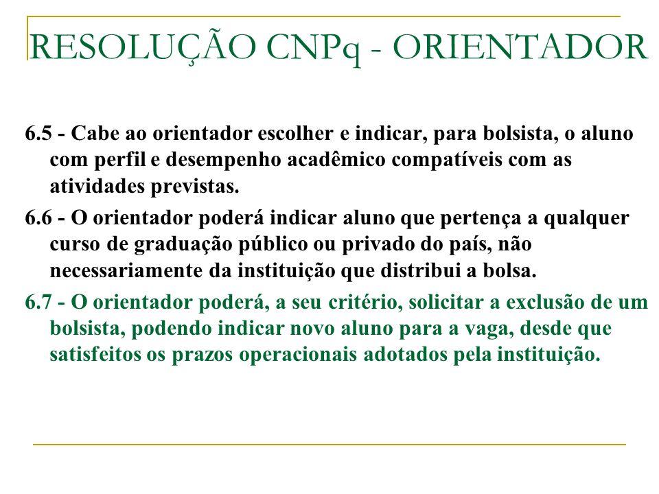 RESOLUÇÃO CNPq - ORIENTADOR
