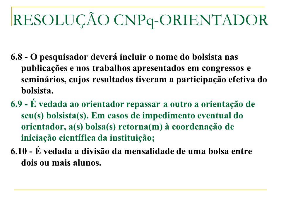 RESOLUÇÃO CNPq-ORIENTADOR