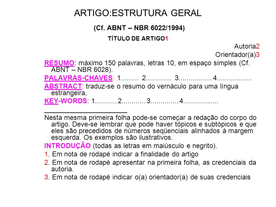 ARTIGO:ESTRUTURA GERAL (Cf. ABNT – NBR 6022/1994)