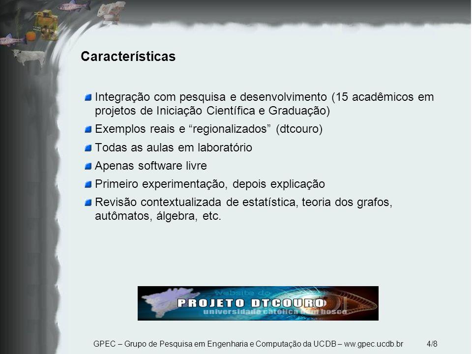 Características Integração com pesquisa e desenvolvimento (15 acadêmicos em projetos de Iniciação Científica e Graduação)
