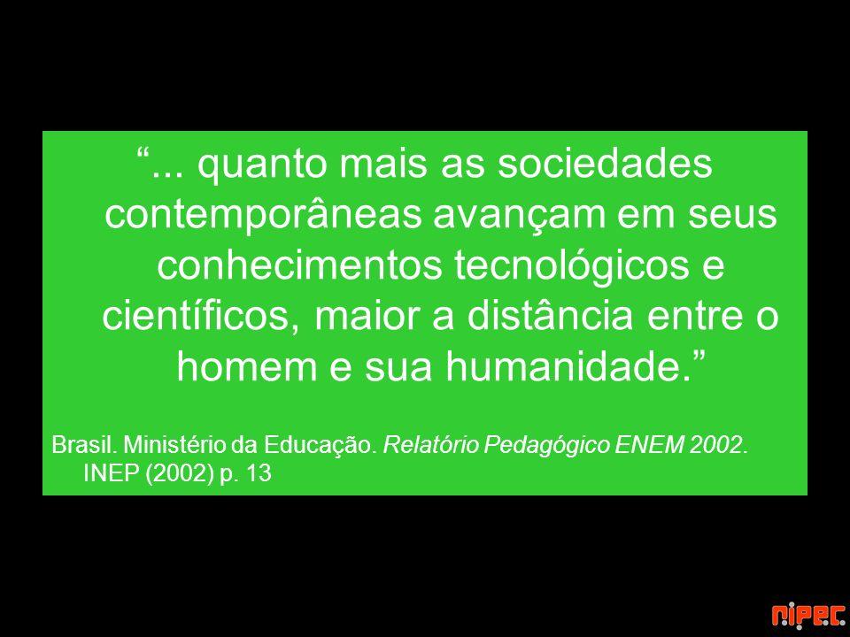 ... quanto mais as sociedades contemporâneas avançam em seus conhecimentos tecnológicos e científicos, maior a distância entre o homem e sua humanidade.