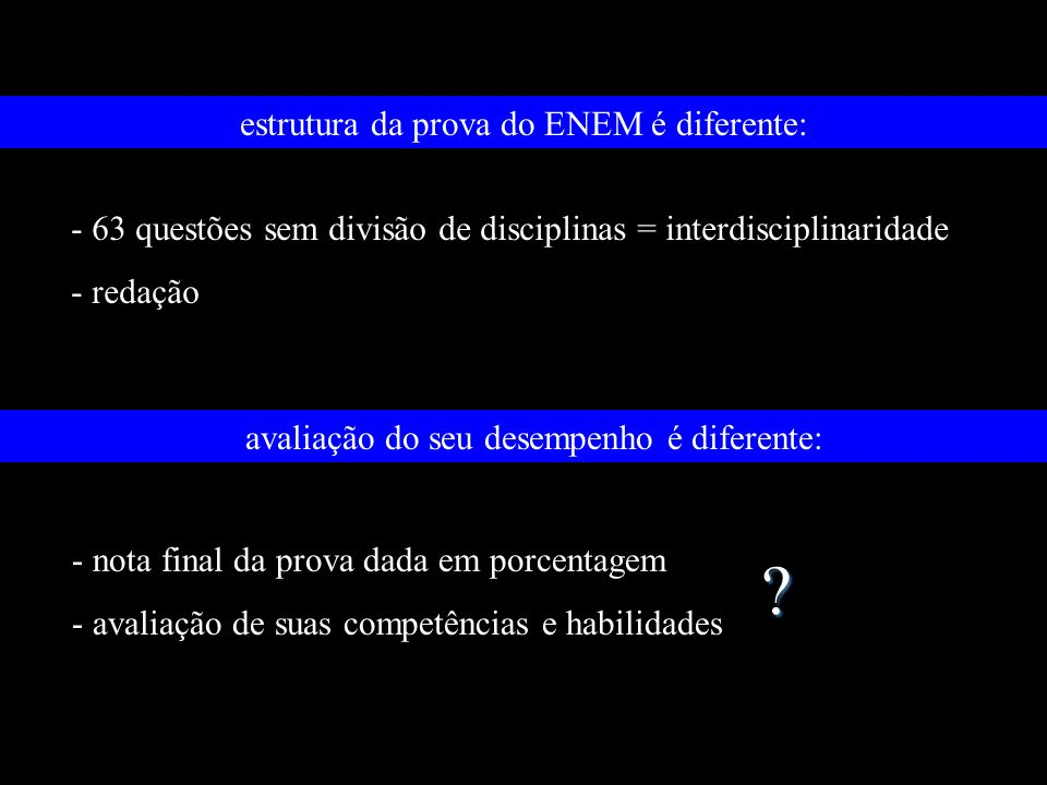 estrutura da prova do ENEM é diferente: