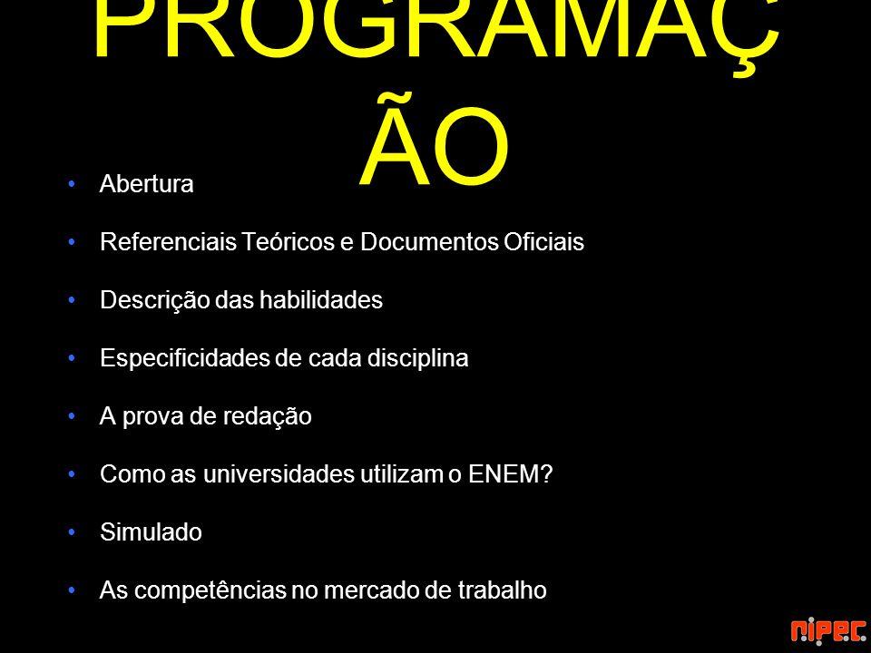 PROGRAMAÇÃO Abertura Referenciais Teóricos e Documentos Oficiais