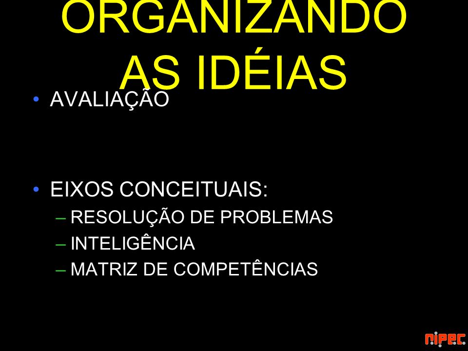 ORGANIZANDO AS IDÉIAS AVALIAÇÃO EIXOS CONCEITUAIS: