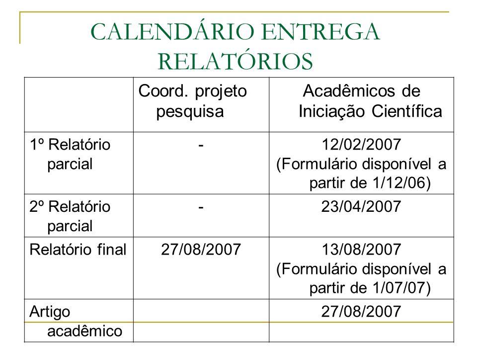 CALENDÁRIO ENTREGA RELATÓRIOS