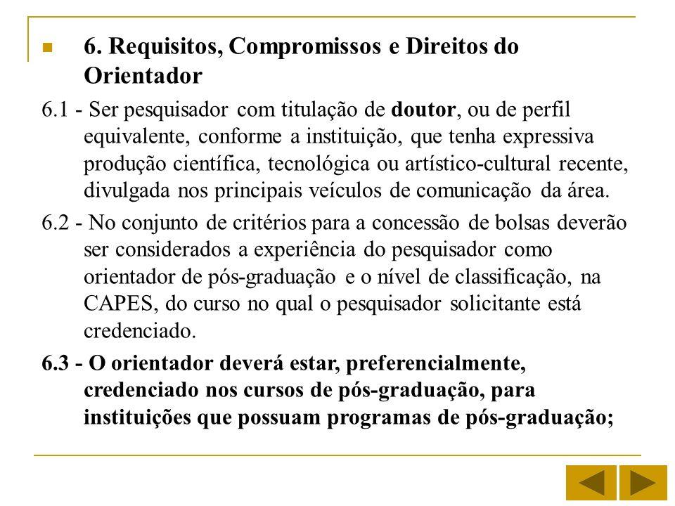 6. Requisitos, Compromissos e Direitos do Orientador