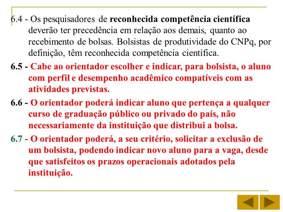 6.4 - Os pesquisadores de reconhecida competência científica deverão ter precedência em relação aos demais, quanto ao recebimento de bolsas. Bolsistas de produtividade do CNPq, por definição, têm reconhecida competência científica.