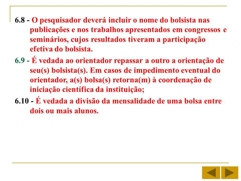 6.8 - O pesquisador deverá incluir o nome do bolsista nas publicações e nos trabalhos apresentados em congressos e seminários, cujos resultados tiveram a participação efetiva do bolsista.
